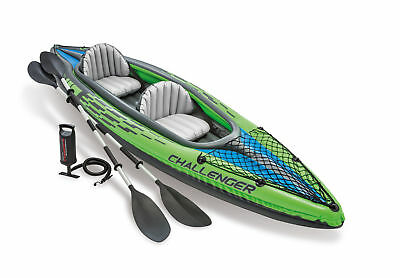 New Intex Two Person Challenger K2 Inflatable Kayak Kit with Oars & Pump 68306EP