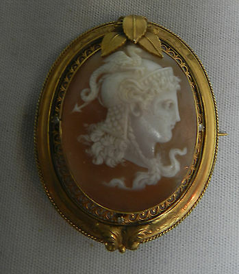 Antique Shell Victorian Cameo Pin Brooch Pendant  with Diamonds  Yellow Gold