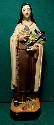 """ST THERESE OF LISIEUX Vtg 1940s CHALKWARE 9.25"""" FIGURE STATUE"""