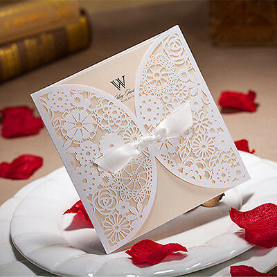 100 Personalized Custom Printing Wedding Invitation Cards With Envelopes, Seals