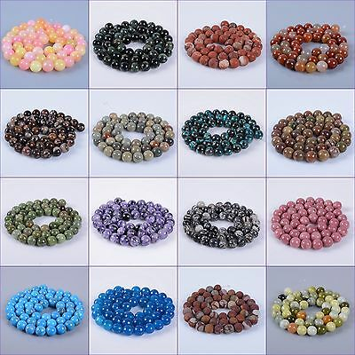 8MM round square gemstone loose  jewelry making beads strand 16""