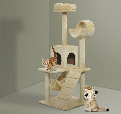 Pawhut 52'' Cat Tree Tunnel Playground Scratcher Scratching Post Climbing Center
