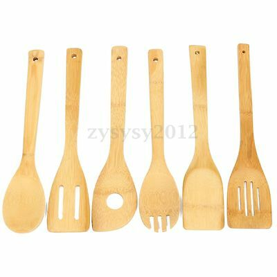 7 Piece Set Bamboo Utensil Kitchen Wooden Cooking Tools Spoon Spatula Mixing