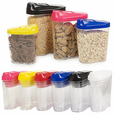 4pc Stacking Nested Food Storage Dispenser Containers Set Slide Lid Easy Pour