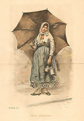 Vienna, Austria, Milkmaid, Umbrella, Child, Vintage 1891 German Antique Print