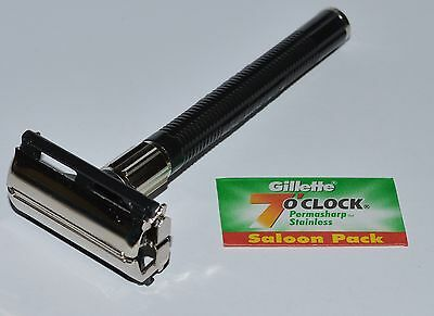 New Twist To Open Butterfly Safety Razor & 1 Gillette Blade Classic Type TTO