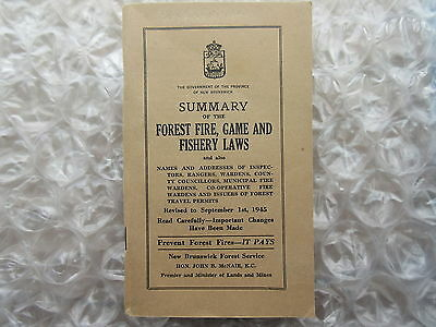 Old 1945 Booklet Summary Forest Fire Game Fishery Laws New Brunswick