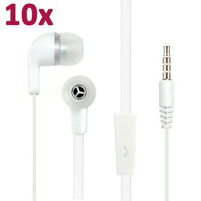 Lot of 10 Wholesale White Headset Earphones For iPhone and Samsung