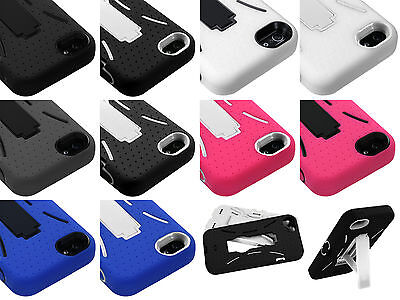 Lot of 10 Armor KickStand Hybrid Silicone Rubber Hard Case Cover for iPhone 5 5S