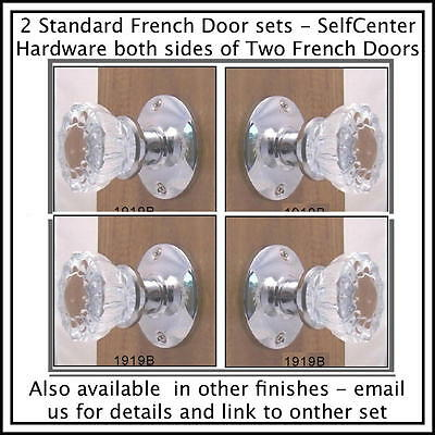Two Complete PC FRENCH DOOR Knob Set- KNOBS On Both Sides of Two FRENCH DOORS