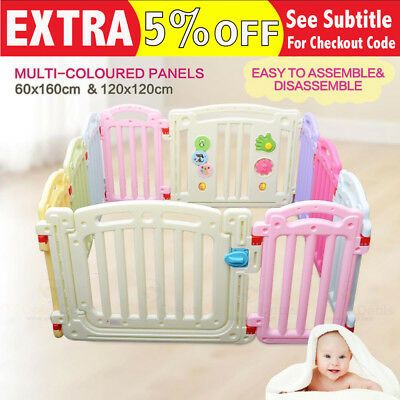 10 Panel Baby Kids Toddler Square Colourful Playpen Barrier Safety Gate 1.2x1.2m