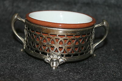 "Vintage Weller Pottery Custard Cup In Metal Holder 5 1/4"" X 3 5/8"" X 2"" W/handle"