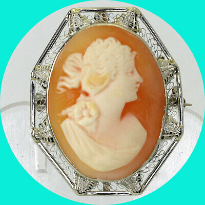 Antique cameo brooch pendant pin 14K white gold hand carved shell filigree frame