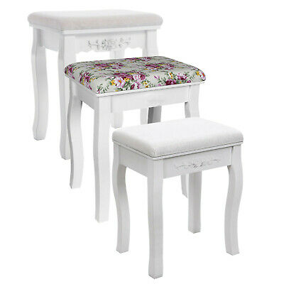 Songmics Vintage Stool Padded Chair for Dressing table Piano White / Floral RDS