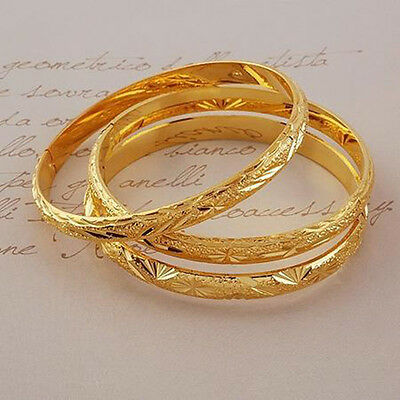 6mm 3pcs Womens Carved Bangle 24k Gold Filled Bracelet 65mm
