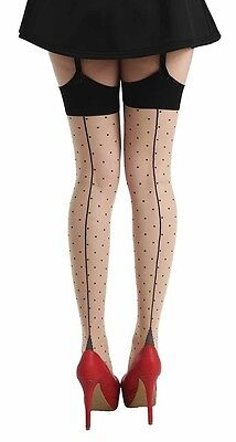 Jive Dotty Seamed Stockings Cuban Heel Pamela Mann Burlesque 50's Inc Plus Size