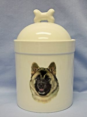 Akita Dog Porcelain Treat Jar Fired Head Decal on Front 8 In Tall
