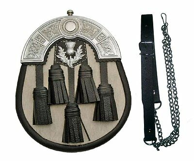 5 Tassel Cowhide Skin Leather Kilt SPORRAN & Belt Scottish Bag Pipe Wear Celtic