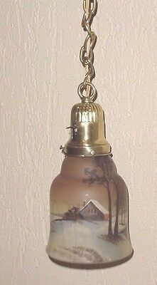 Old Handpainted Glass Tulip Snowy Landscape Ceiling Lamp Lighting Hanging Chain
