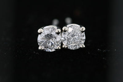 14k White Gold .70ct Round Diamond Stud Earrings  4.5mm G color, I2 clarity