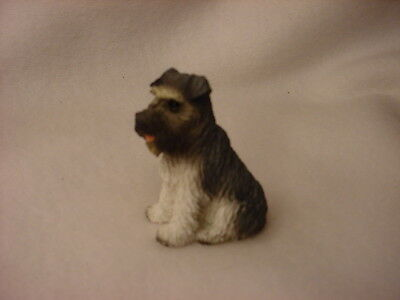 GRAY SCHNAUZER uncropped ear puppy TiNY FIGURINE Dog MINIATURE Mini resin Statue
