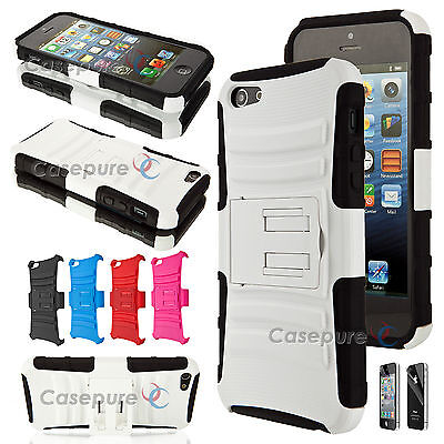Lot of 3 Apple iPhone 5 5S Rugged Heavy Duty Hard Case Silicone Cover Kick Stand