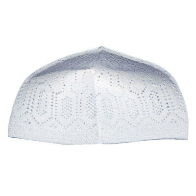White Cotton Machine Knit Turkish kufi Muslim Taqiyah Hat Moslem Kofiyah Takke