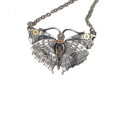 STEAMPUNK BUTTERFLY Necklace Gearwork Pendant steam punk moth insect bug