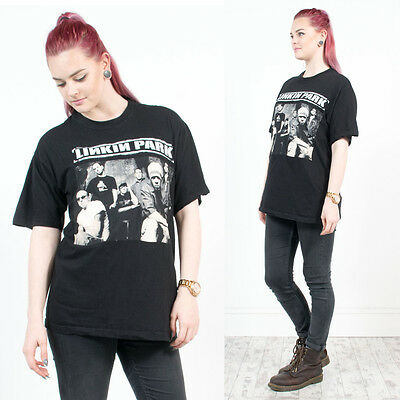 Unisex Vintage 90's Linkin Park Black Crew Neck Short Sleeve 00's T-Shirt Top 14