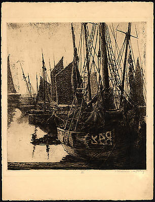 Antique Print-SAILING-SHIP-HARBOUR-Franchomme-van Halteren-ca. 1920