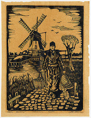 Antique Print-MOOI HOLLAND-VOLENDAM-COSTUME-WINDMILL-De Beer-ca. 1920
