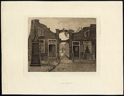 Antique Print-VILLAGE-NETHERLANDS-PUMP-COTTAGE-Batelt-ca. 1890