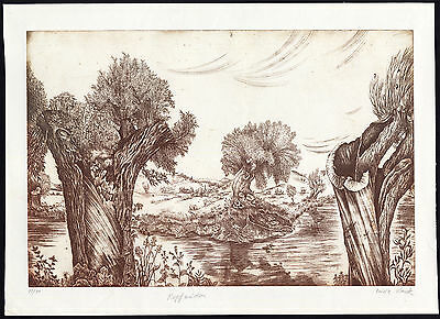 Antique Print-KOPFWEIDEN-POLLARD WILLOWS-LANDSCAPE-Slavik-ca. 1980