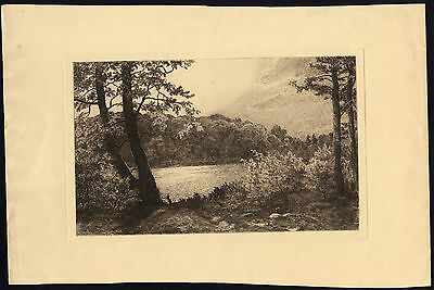 Antique Print-FOREST LANDSCAPE-LAKE-Holm-1934