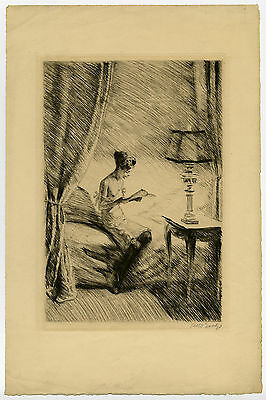 Antique Print-DER BRIEF-NIGHTDRESS-READING-BED-Goetze-ca. 1910