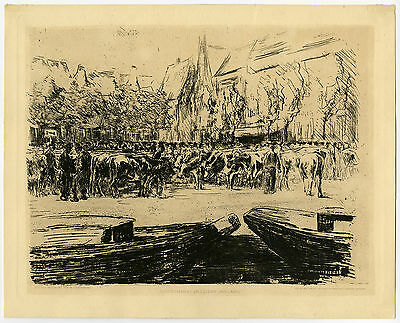 Antique Print-RINDERMARKT IN LEIDEN-CATTLE MARKET-Liebermann-ca. 1900