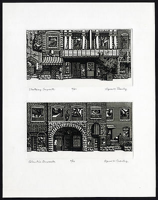 Antique Print-STROLLWAY-COLUMBIA-COMPOSITE-STREET-SHOP-Crowley-ca. 1985
