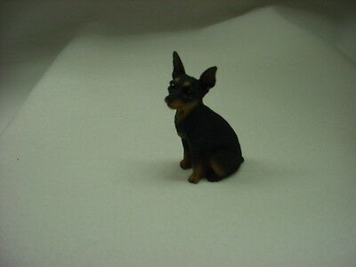MINIATURE PINSCHER black tan puppy TiNY DOG Figurine HAND PAINTED Min Pin Statue