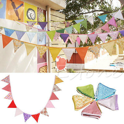 New Colorful Fabric Flags Bunting Pennant Wedding Party Home Decoration