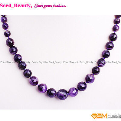 """6-14mm Faceted Natural Stone Beads Graduated Beaded Jewelry Necklace 18-22"""""""
