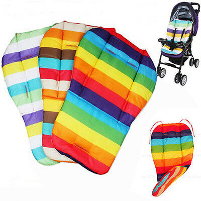 Waterproof Rainbow Baby Kids Car Seat Liner Padding Pram Stroller Cushion Pad
