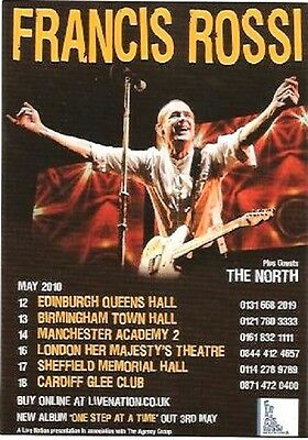 """STATUS QUO Francis Rossi Tour 2010 UK FLYER / mini Poster 6x4"""" double-sided card"""