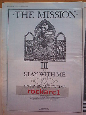 """The MISSION Stay With Me 1986 UK Poster size Press ADVERT 16x12"""""""
