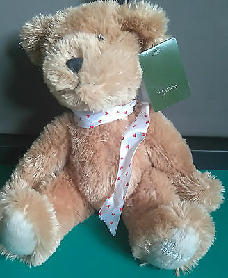 Harrods Brown Bear with Heart white Bow ribbon 12 inches long soft plush toy *