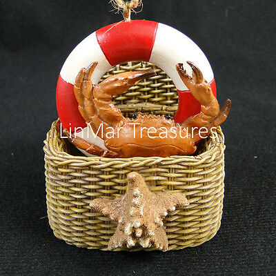 Crab Ornament in Basket With Starfish