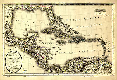 1806 Map,America,World, Quality Historic Print, Mexico, Florida Caribbean, 20x14