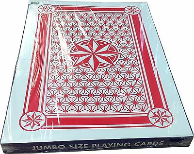 Playing Cards - 1 Giant Size Red Plastic Coated Deck + Two Jokers