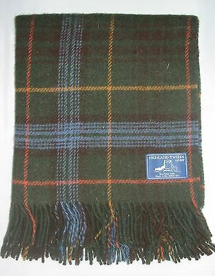 Antique Hunting Stewart tartan wool knee travel rug throw British Made by Bronte