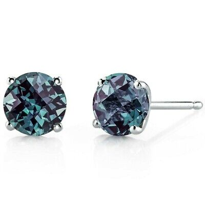 14 kt White Gold Round Cut 2.250 ct Alexandrite Earrings