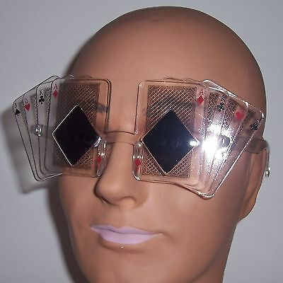 Clear Poker Sunglasses - Royal Straight Card Glasses Novelty Las Vegas Funny